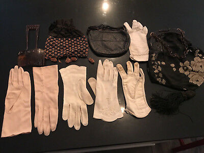 Lot of vintage antique silk leather purses combs leather and cotton gloves