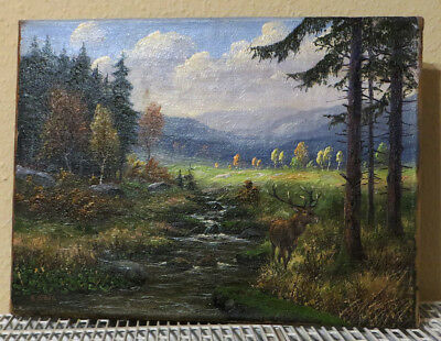 August Mötsch (1869-1952): Ölgemälde Rothirsch in Herbstlandschaft