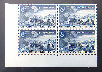 1957 AAT Pre Decimal Stamps: Predecimal Definitives - Cnr Block 4x8d Blue A3 MNH