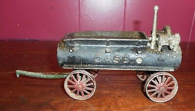 *NICE* Antique Cast Iron Original  Water or Fire Wagon With CASE RAISED LETTERS