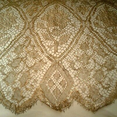 Antique French 19thC Gold Lace Panel, Higher Metal Content, Trim Doll Gown Dress