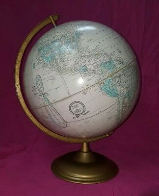 "Vintage Cram's Imperial World Globe Dark Tan Color 12"" Diameter -Desk Stand"
