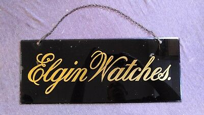 Antique Vintage ELGIN WATCHES Sign Beveled Glass w Gold Tone Letters Advertising