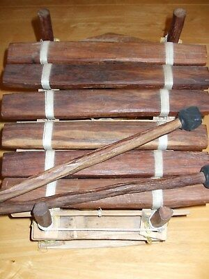African Marimba Hand Crafted Wooden Xylophone 3 Different Sized Gourds