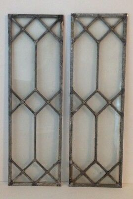 """Two Matching Antique Vintage Leaded Glass Windows 22 5/8"""" X 7 1/8"""" Each"""