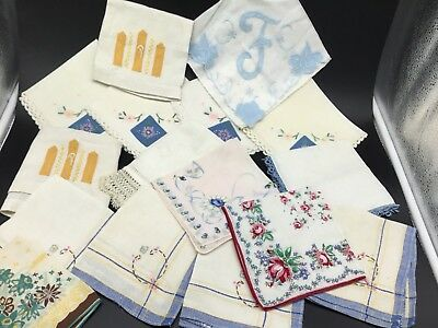 Vintage Womens Floral Embroidered Cotton Hankies Handkerchiefs Lot Of 16