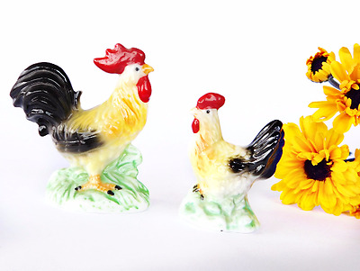 Vintage Miniature Porcelain Rooster and Hen Matching Pair Chickens Farm Minis