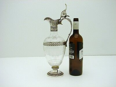 Gorham Sterling & Intaglio Cut Glass Ewer Decanter Neo-Classical marked c1895
