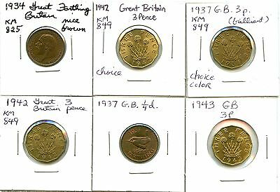 Lot of 6 1934 - 1943 Great Britain Farthing & Threepence Coins #104221 R