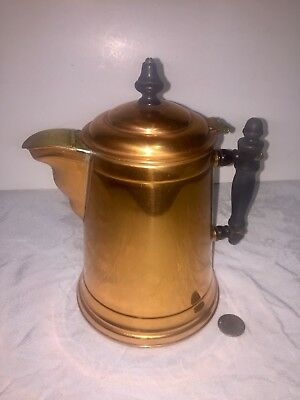 Antique Copper & Brass Coffee Pot Tinned Interior Wood Finial & Handle HingedTop