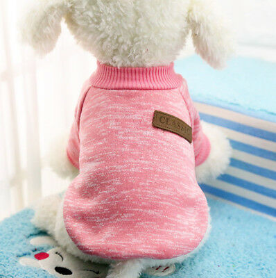 Warm Pink Small Pet Puppy Dog Clothes Sweater Knitted Jumper Winter Apparel