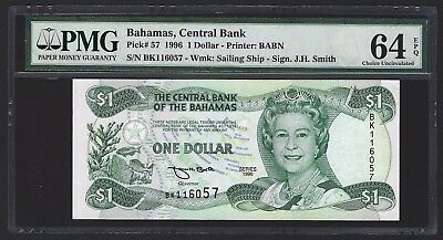 1996 Bahamas $1 Dollar, PMG 64 EPQ, Choice UNC, P-57, RARE DATE AND TYPE IN UNC!