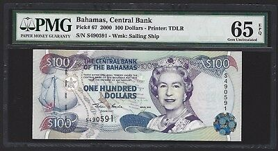 2000 Bahamas $100 Dollars, PMG 65 EPQ, GEM UNC P-67 Becoming Scarce Now! QEII