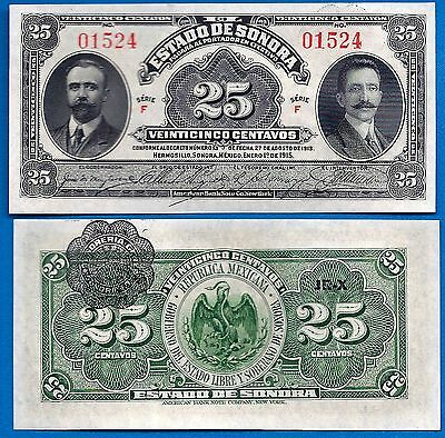 Mexico/Revolutionary S-1069 Twenty-Five Centavos Year 1915 Banknote S. America