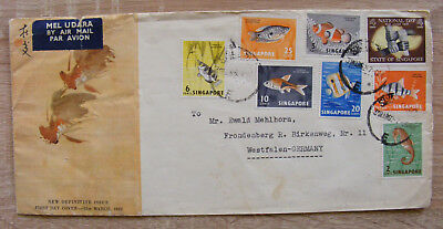 FDC 1962 Air Mail Singapore Singapur Cover Lettre Brief to Germany