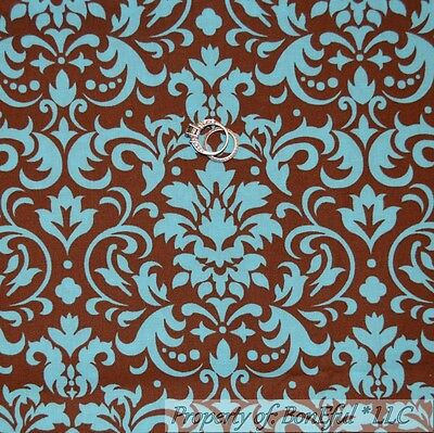 BonEful Fabric FQ Cotton Quilt Brown Aqua Teal Blue Flower VTG Damask Dot Scroll