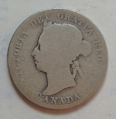 1889 Canada Silver 25 Cent Coin Canadian Twenty-Five Cents Quarter