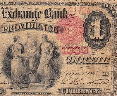 *RARE* 1875 $1 FIRST CHARTER Providence, RI National Banknote! FREE SHIP! 11724