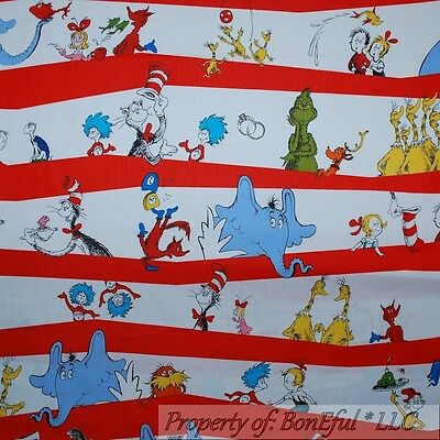 BonEful Fabric FQ Cotton VTG Antique HAT Dr Seuss Thing 1/&2 Baby Child RARE OOP