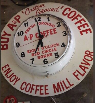 Vintage A&P Coffee Advertising Clock W/marquee not neon or lighted. Antique