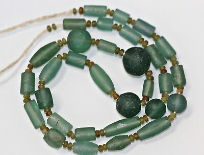 "Ancient Roman Period Green/Blue Glass Beads Afghanistan Pakistan 16"" St 17g"