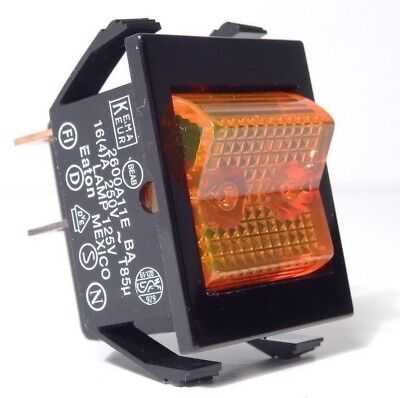 Eaton 2600A11E Illuminated Rocker Switch Amber DPST On-None-Off 125VAC 16A