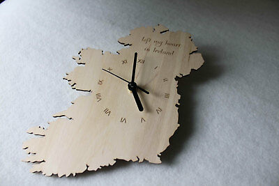 Custom Unique Bespoke Ireland Shape Clock Eire Map Wooden Handmade Ireland