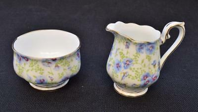 Vintage ROYAL ALBERT Bone China England BLUE PANSY CHINTZ Set Creamer Sugar Bowl