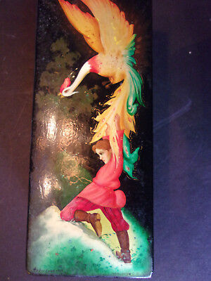 Antique Russian Soviet Ussr Lacquer  Box Fedoskino Firebird 19Th Century Signd