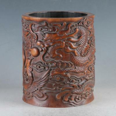 Exquisite Bamboo Wood Hand Carved Dragon & Phoenix Brush Pot D