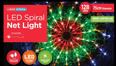 New 128 LED 75CM Spiral Net Light Multi Colour Flashing Outdoor indoor Christmas