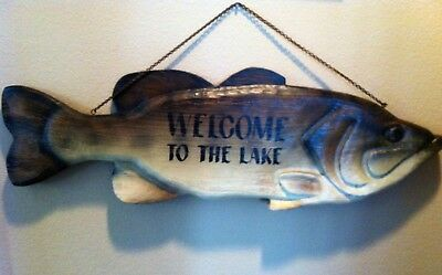 Large Wood Carved Fish by Big Sky Carvers, wall display