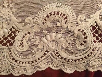 FRENCH NET LACE Tambour panel New old stock  1920's Ecru Bridal/Collector