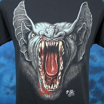 vintage 80s BLOODY BAT FACE PAPER THIN T-Shirt SMALL horror vampire rock biker