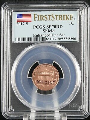 2017 S Lincoln Shield Cent Enhanced Unc Set PCGS SP70 RD First Strike
