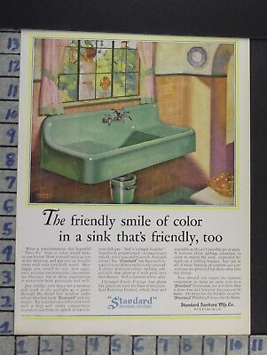 1929 Standard Sink Kitchen Fixture Bathroom Home Decor Vintage Art Ad  Cn84