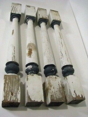 """SET OF 4 Farmhouse Architectural SALVAGE Wood Railing SPINDLES Balusters 23 1/2"""""""