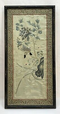 Antique Vintage Chinese Birds Flowers Silk Embroidery Panel Framed
