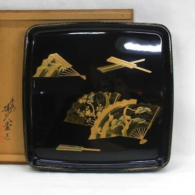 B878: High-class Japanese lacquer ware tray with fantastic MAKIE, NASHIJI w/box