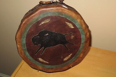 rare c.1910 PLAINS INDIAN NATIVE AMERICAN painted buffalo & feathers HIDE DRUM