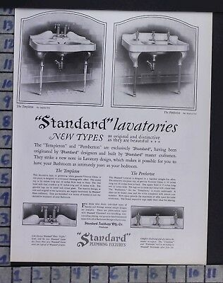 1927 Standard Plumbing Fixture Bathroom House Home Decor Vintage Art Ad  Bz21
