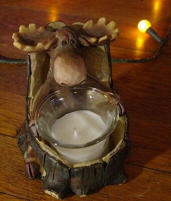 Rustic Lodge Faux Wood Carved MOOSE TREE TRUNK CANDLE HOLDER Cabin Home Decor