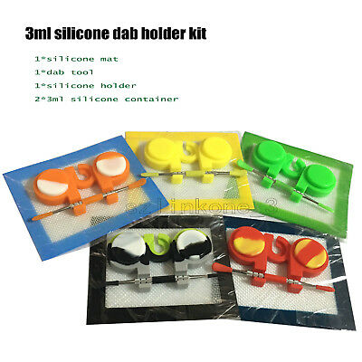 "1 Silicone Kit With 5.51*4.52"" Mat Dab Tool Holder 3ml Wax Oil Container Jars"