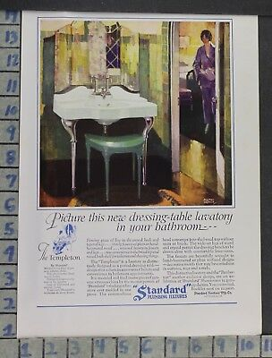 1927 Standard Plumbing Fixture Templeton Bath Home Decor Vintage Art Ad Dp57