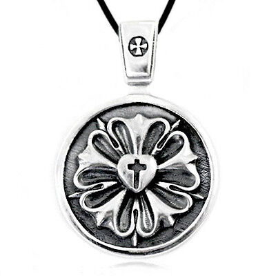 Luther Rose Seal Symbol Lutheran Cross Solid Sterling Silver Pendant Necklace