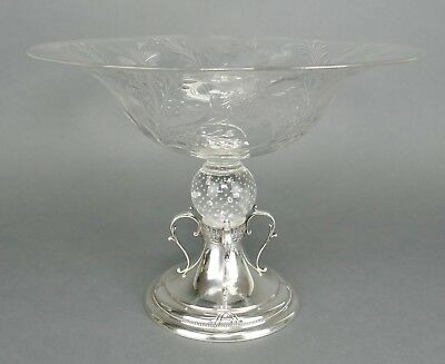 Fine REED & BARTON Sterling Silver PAIRPOINT Glass Barrington Centerpiece Bowl