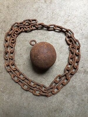 """Antique 3-1/2"""" Cast Iron Gate Closer Counter Weight Cannon Ball & 59"""" Chain COOL"""
