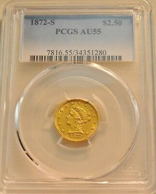 1872 S $2.50 PCGS AU 55 Gold Liberty Quarter Eagle, Scarce Date 2 and 1/2 Coin
