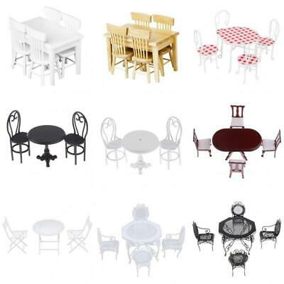 1/12th Scale Dolls House Miniature Furniture Dining Table Chairs Model Set Decor