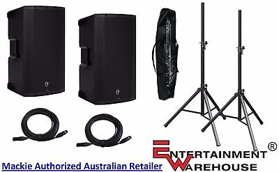 2 x THUMP12A2 Mackie Speakers + 2 x Stands with Bag + 2 x 10mtr XLR Cables
